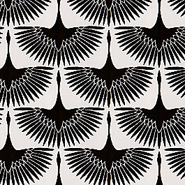 Flocked Black & White Bird Fabric | Wing It Black