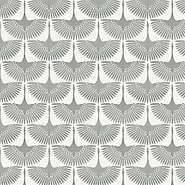 Flocked Gray Bird Fabric | Wing It Lunar