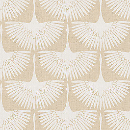 Natural & White Bird Fabric   Wing It Chalk