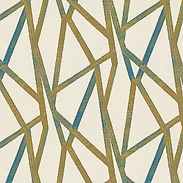 Gold & Teal Abstract Stripes Fabric | Tessellate Medallion
