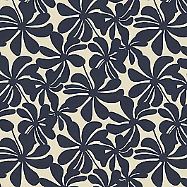 Navy Graphic Floral Outdoor Fabric Night & Daisy Midnight