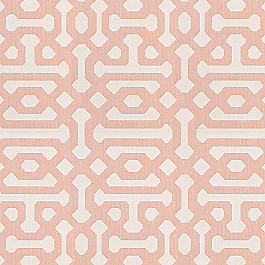Pale Coral Trellis Outdoor Fabric | Fretwork  Cameo