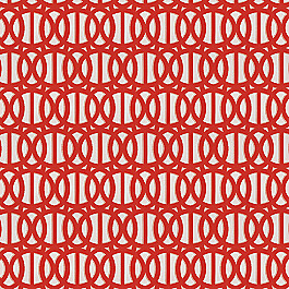 Coral Red Trellis Outdoor Fabric | Reflex Flame