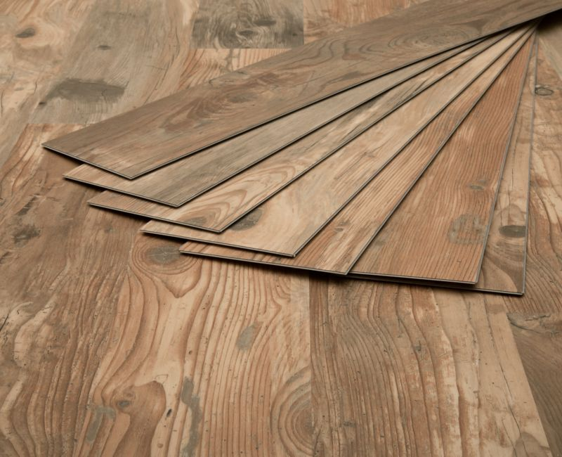 Stack Of Beige Laminate Flooring Planks