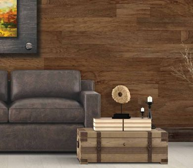 Living Room with Laminate Wood Planks Installed Horizontally on Wall