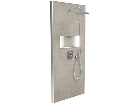 Douche prête-à-poser, avec rangement - En niche