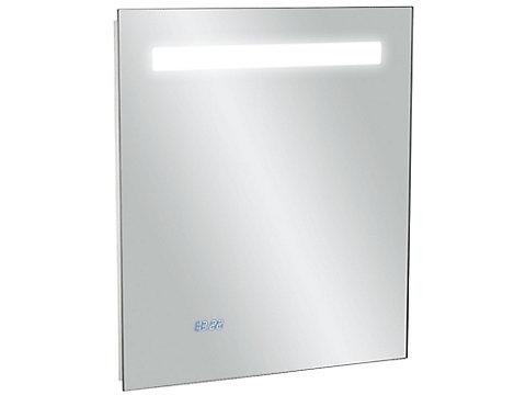 Miroir 55 cm, éclairage LED, anti-buée et horloge