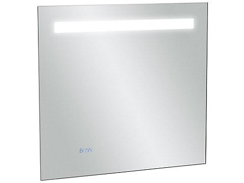 Miroir 70 cm, éclairage LED, anti-buée et horloge