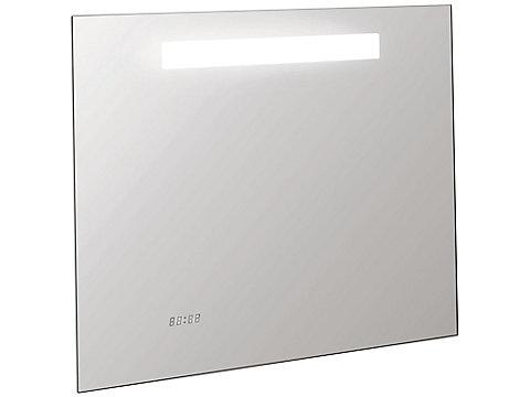 Miroir 80 cm avec éclairage LED, anti-buée et horloge
