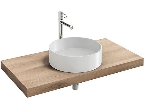 Plan de toilette stratifié 100 cm avec 1 découpe centrée pour vasque à poser