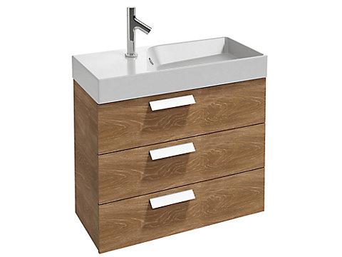 Meuble sous plan-vasque compact 80 cm, 3 tiroirs