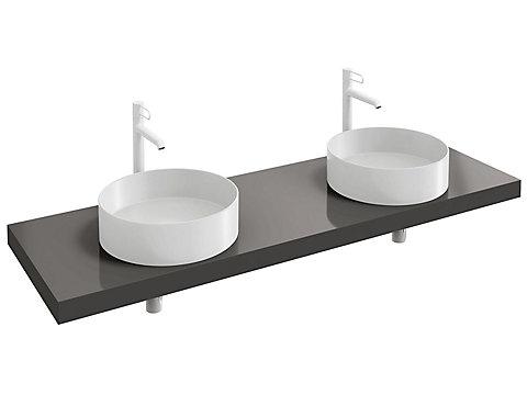Plan de toilette 160 cm avec 2 découpes pour vasque à poser