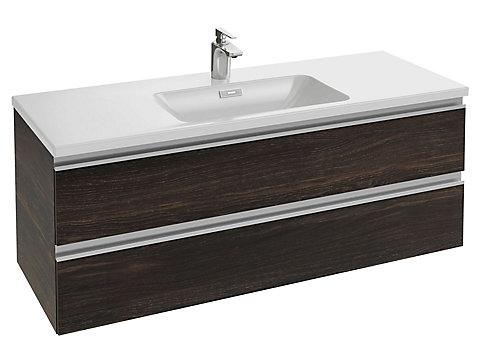 Meuble sous plan-vasque 120 cm 2 tiroirs, poignée intégrée