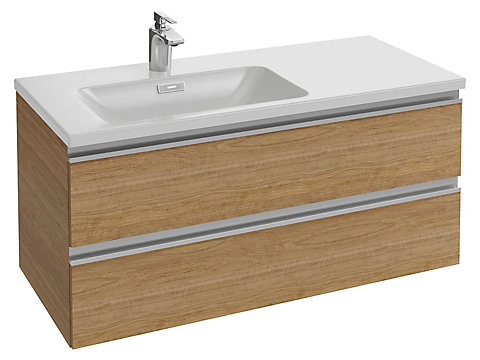 Meuble sous plan-vasque 100 cm (cuve à gauche) 2 tiroirs, poignée intégrée