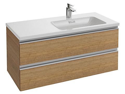 Meuble sous plan-vasque 100 cm (cuve à droite) 2 tiroirs, poignée intégrée
