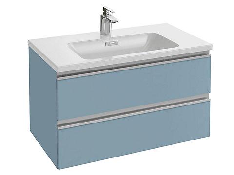 Meuble sous plan-vasque 80 cm 2 tiroirs, poignée intégrée