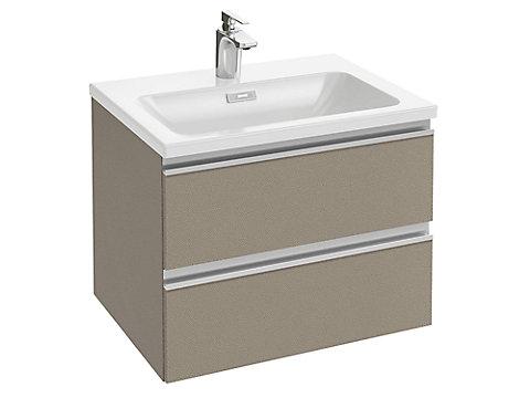 Meuble sous plan-vasque 60 cm 2 tiroirs, poignée intégrée
