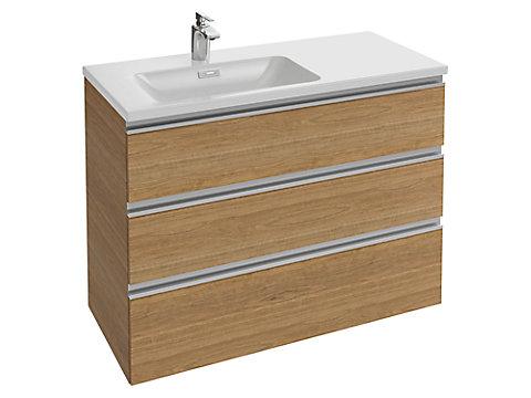 Meuble sous plan-vasque 100 cm (cuve à gauche) 3 tiroirs, poignée intégrée