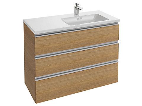 Meuble sous plan-vasque 100 cm (cuve à droite) 3 tiroirs, poignée intégrée