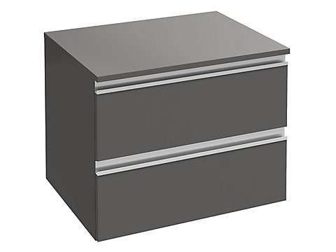 Commode 60 cm, 2 tiroirs, poignée intégrée