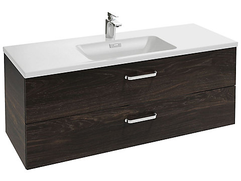 Meuble sous plan-vasque 120 cm 2 tiroirs, poignée Angle