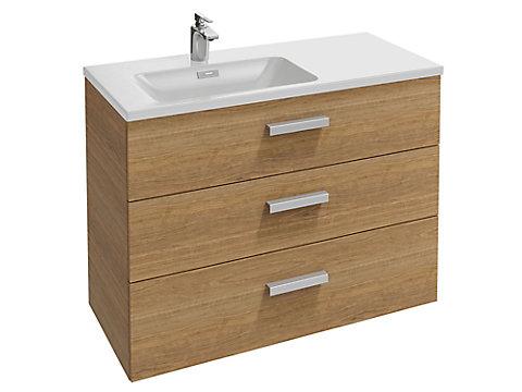 Meuble sous plan-vasque 100 cm (cuve à gauche) 3 tiroirs