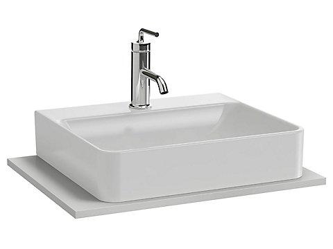 Plateau 60 cm découpe pour vasque à poser avec plage de robinetterie