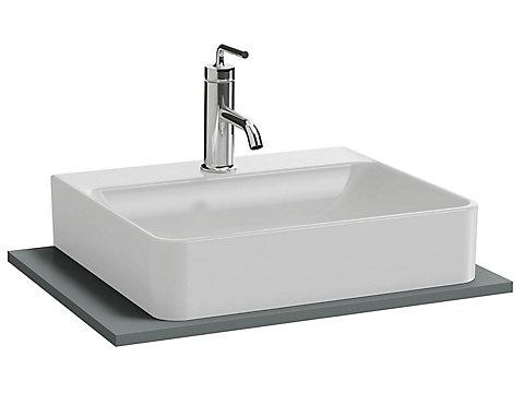 Plateau 80 cm découpe pour vasque à poser avec plage de robinetterie
