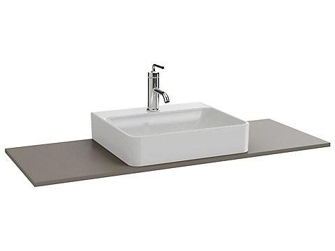 Plateau 120 cm découpe centrée pour vasque à poser avec plage de robinetterie