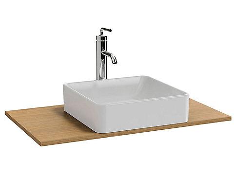 Plateau 80 cm découpe pour vasque à poser + trou de robinetterie