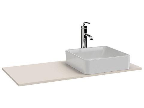 Plateau 100 cm découpe droite pour vasque à poser + trou de robinetterie