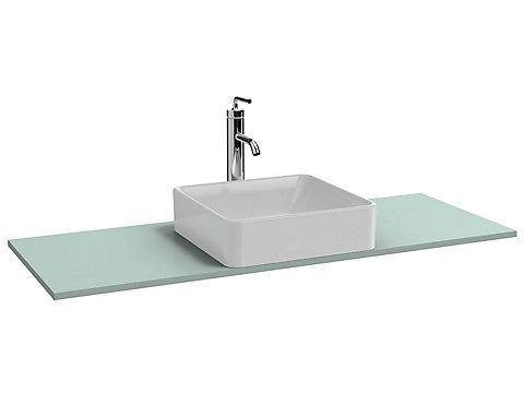 Plateau 120 cm découpe centrée pour vasque à poser + trou de robinetterie