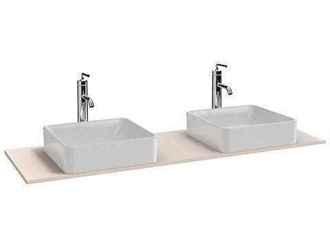 Plateau 140 cm 2 découpes pour vasque à poser + trou de robinetterie