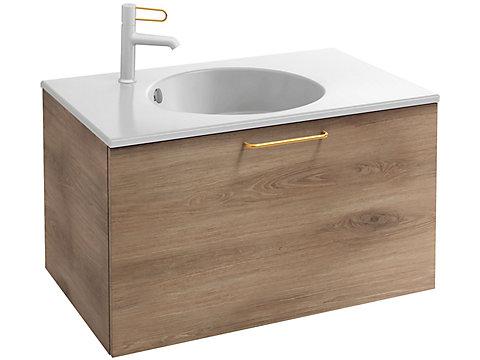 Meuble sous plan-vasque 80 cm, 1 tiroir haut, poignée filaire bronze