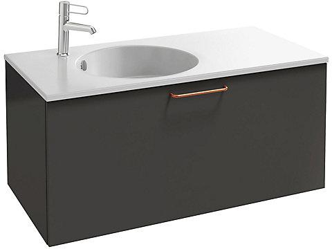 Meuble sous plan-vasque 100 cm, 1 tiroir haut, poignée filaire bronze