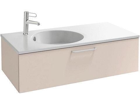 Meuble sous plan-vasque 100cm, 1 tiroir faible hauteur, poignée filaire bronze