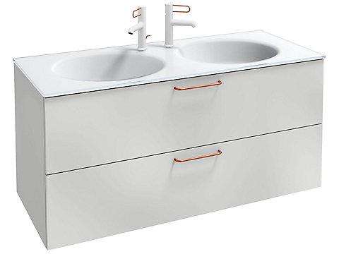 Meuble sous plan-vasque 120 cm, 2 tiroirs, poignées filaires noires