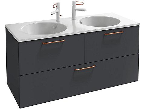 Meuble sous plan-vasque 120 cm, 2 tiroirs haut et  1 grand tiroir bas