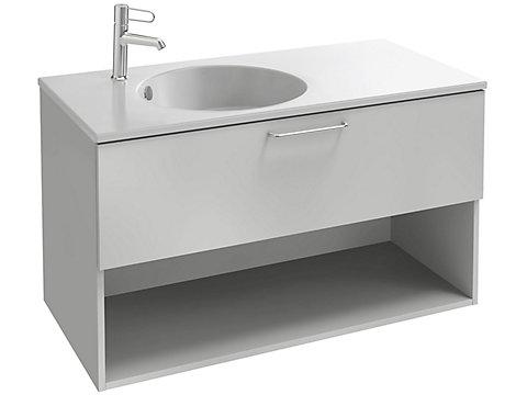 Meuble sous plan-vasque 100 cm, 1 tiroir et  1 niche, poignée filaire bronze