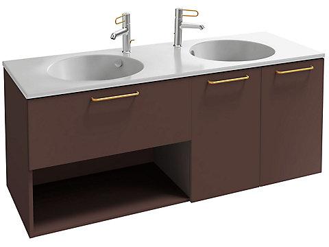 Meuble sous plan-vasque 140 cm, 1 tiroir, 1 niche et 2 portes, poignées filaires noires