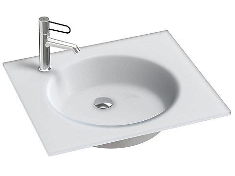 Plan-vasque verre givré, 61 cm