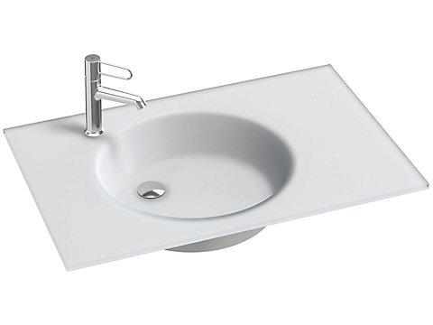 Plan-vasque verre givré, 81 cm