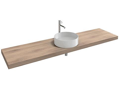 Plan de toilette 200 cm, 1 découpe, stratifié