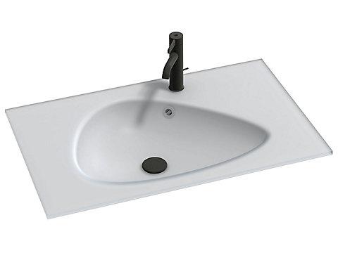 Plan-vasque verre givré 81 cm