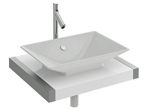 Plan de toilette 60 cm, 1 découpe, stratifié