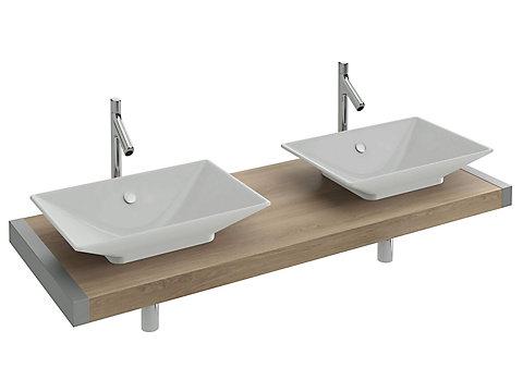 Plan de toilette sur-mesure de 140 à 150 cm avec découpes