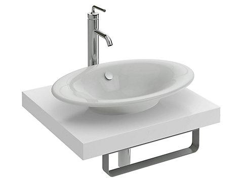 Plan de toilette 60 à 139,9 cm, 1 découpe, stratifié