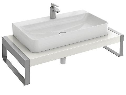 Plan de toilette 100 cm avec 1 découpe pour vasque à poser