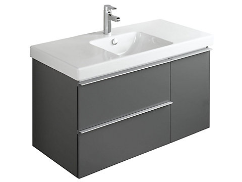 Meuble sous plan-vasque 102 cm, 2 tiroirs + 1 porte