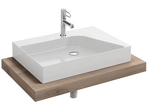Plan de toilette stratifié 80 cm avec 1 découpe centrée pour vasque à poser